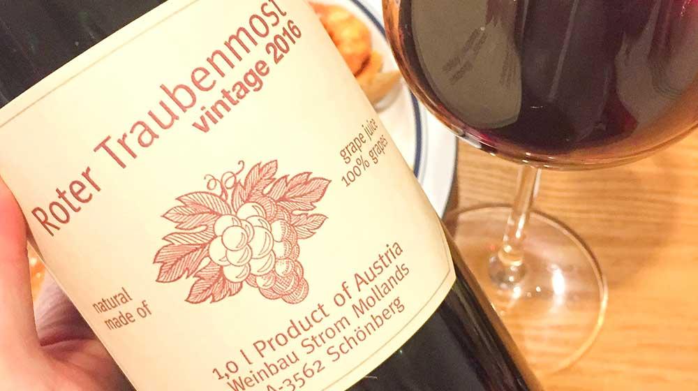 ワイン用の葡萄で作ったぶどうジューストラウベンモスト